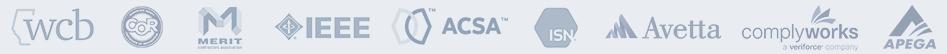 wcb COR MERIT IEEE ACSA ISN Avetta complyworks APEGA